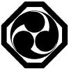Sumikirikaku ni mitsudomoe (Matsumoto family crest)